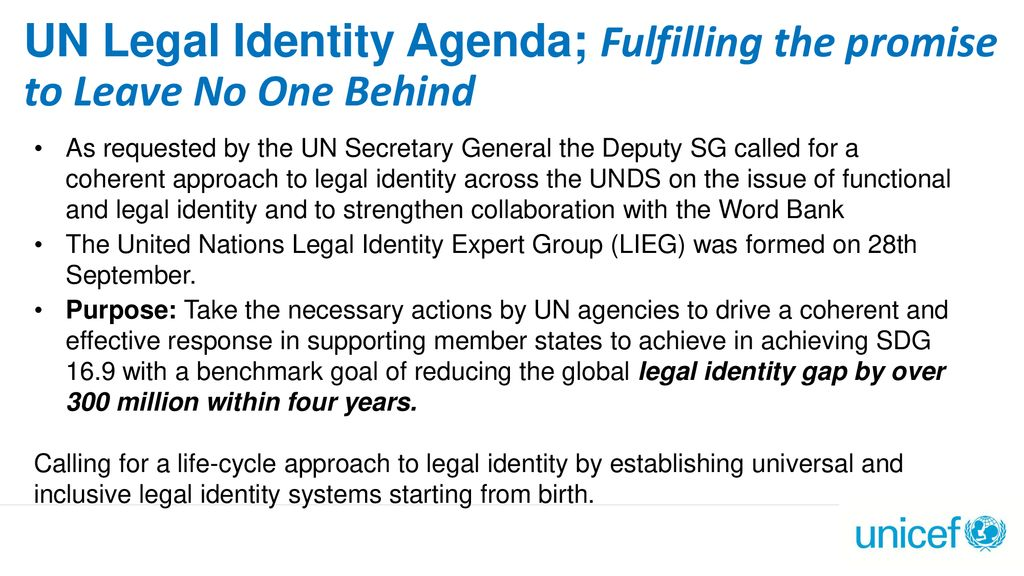UN Legal Identity Agenda; Fulfilling the promise to Leave No One Behind