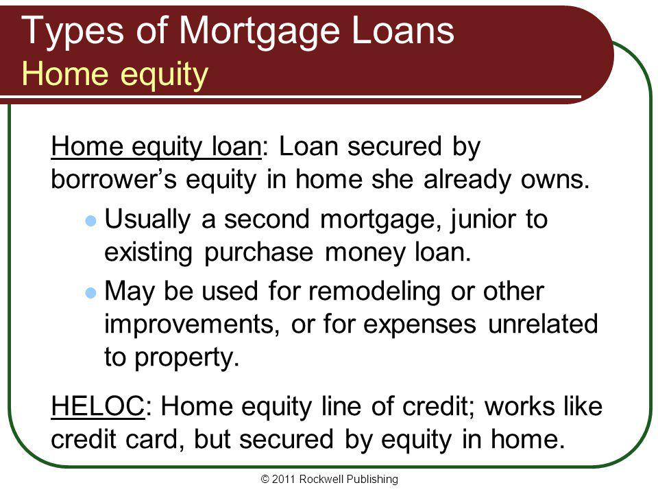 Types of Mortgage Loans Home equity