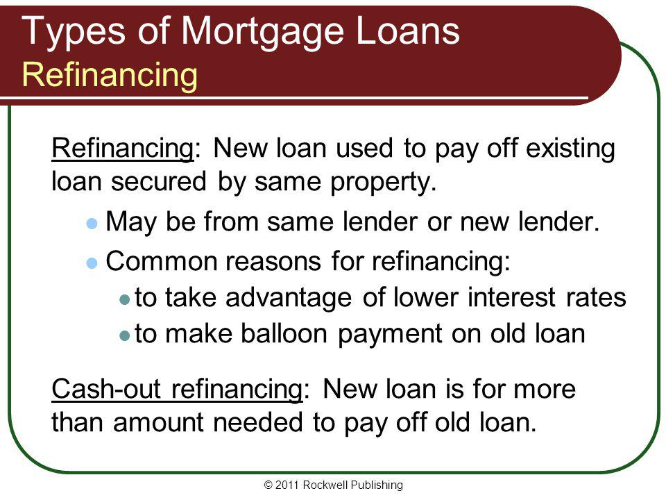 Types of Mortgage Loans Refinancing