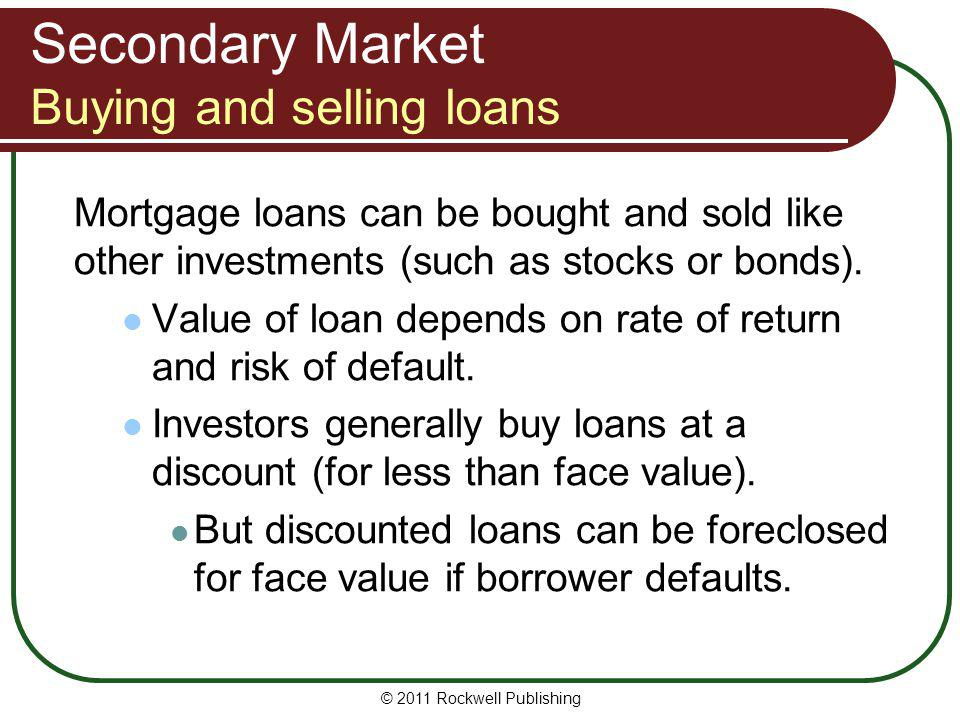 Secondary Market Buying and selling loans
