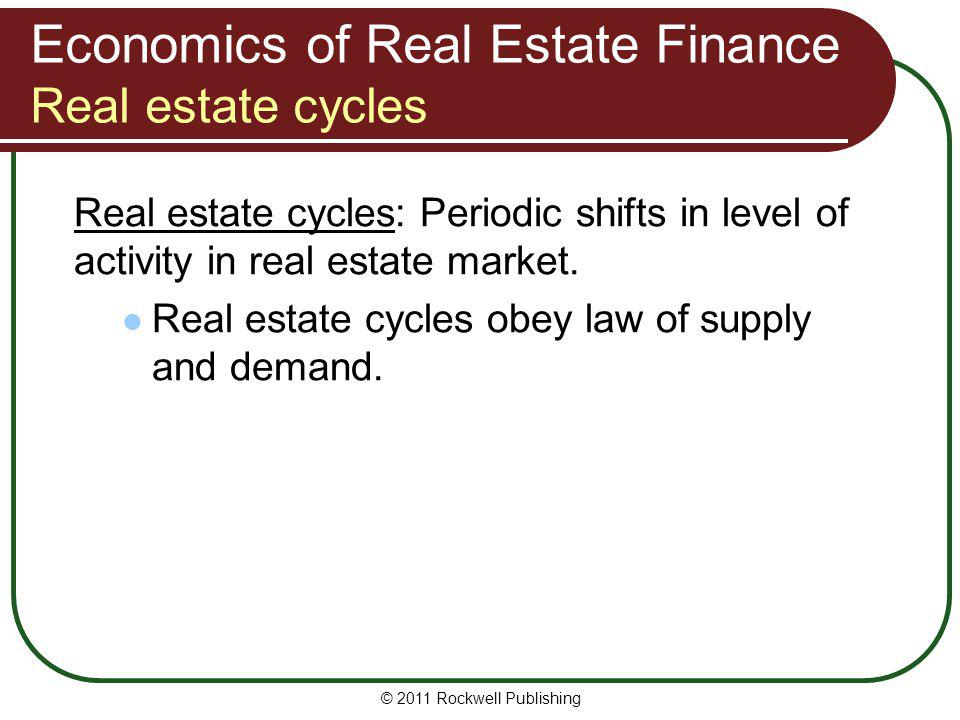 Economics of Real Estate Finance Real estate cycles