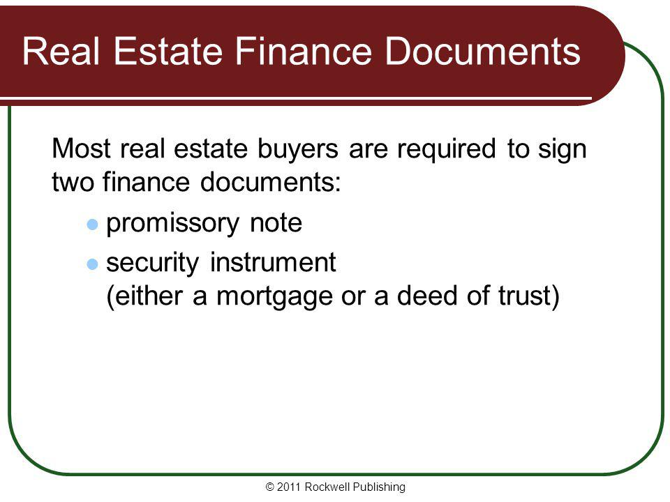 Real Estate Finance Documents
