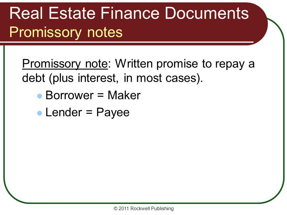 Real Estate Finance Documents Promissory notes