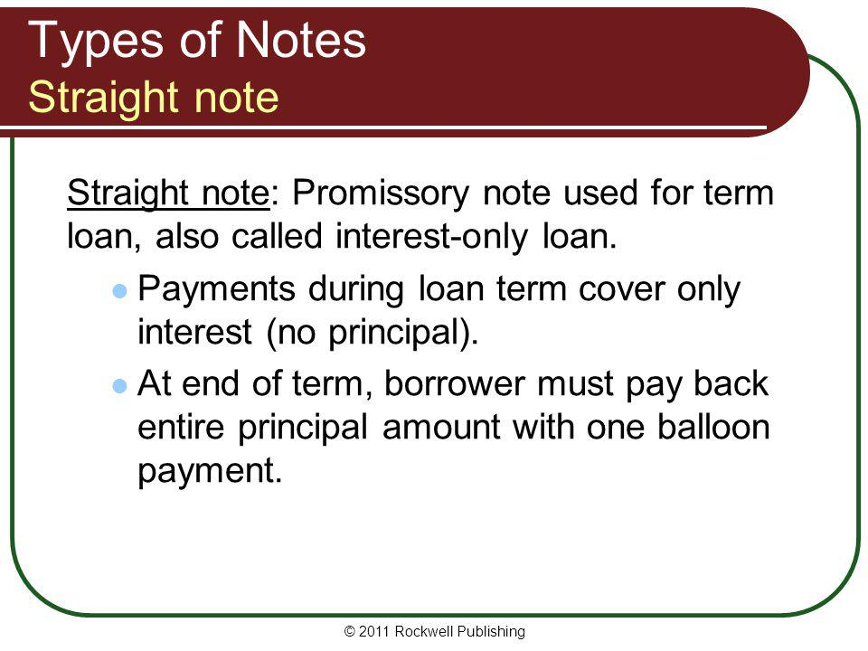 Types of Notes Straight note