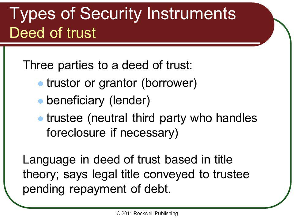 Types of Security Instruments Deed of trust