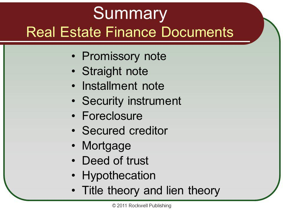 Summary Real Estate Finance Documents