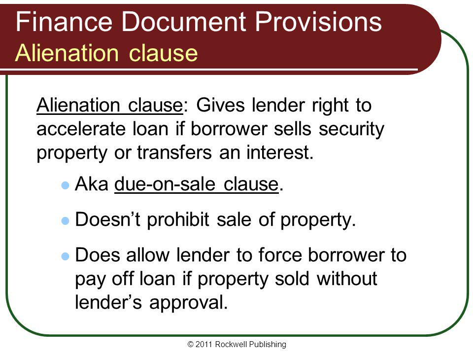Finance Document Provisions Alienation clause