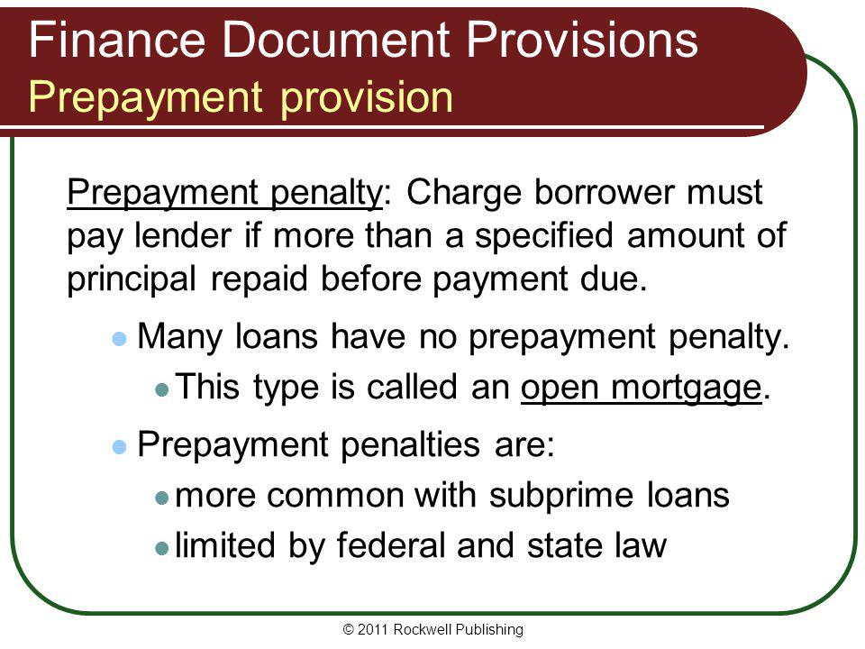 Finance Document Provisions Prepayment provision