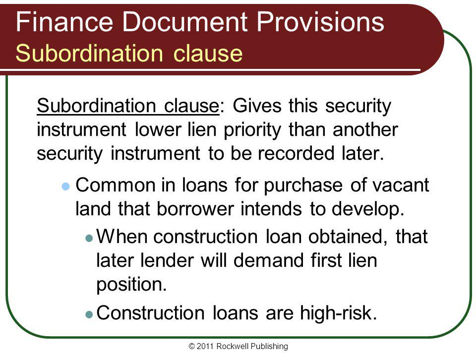 Finance Document Provisions Subordination clause