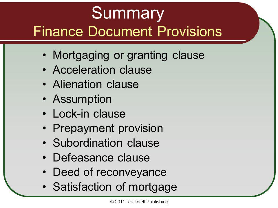 Summary Finance Document Provisions