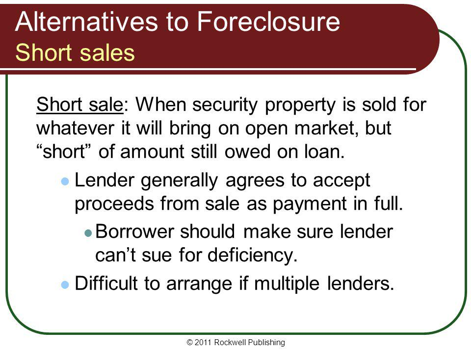 Alternatives to Foreclosure Short sales