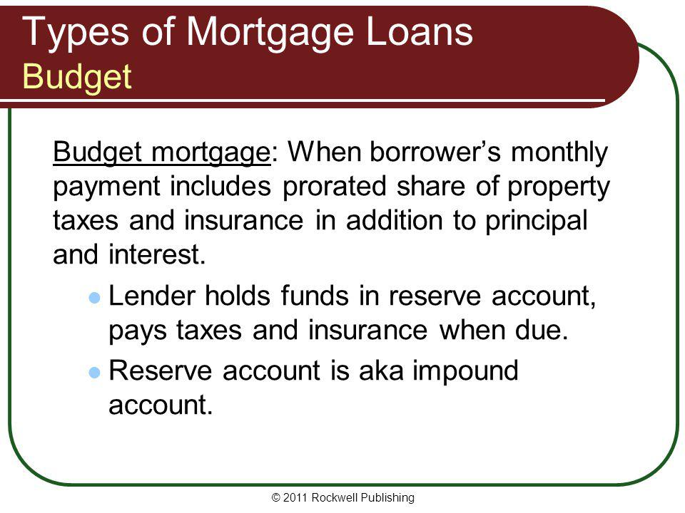 Types of Mortgage Loans Budget