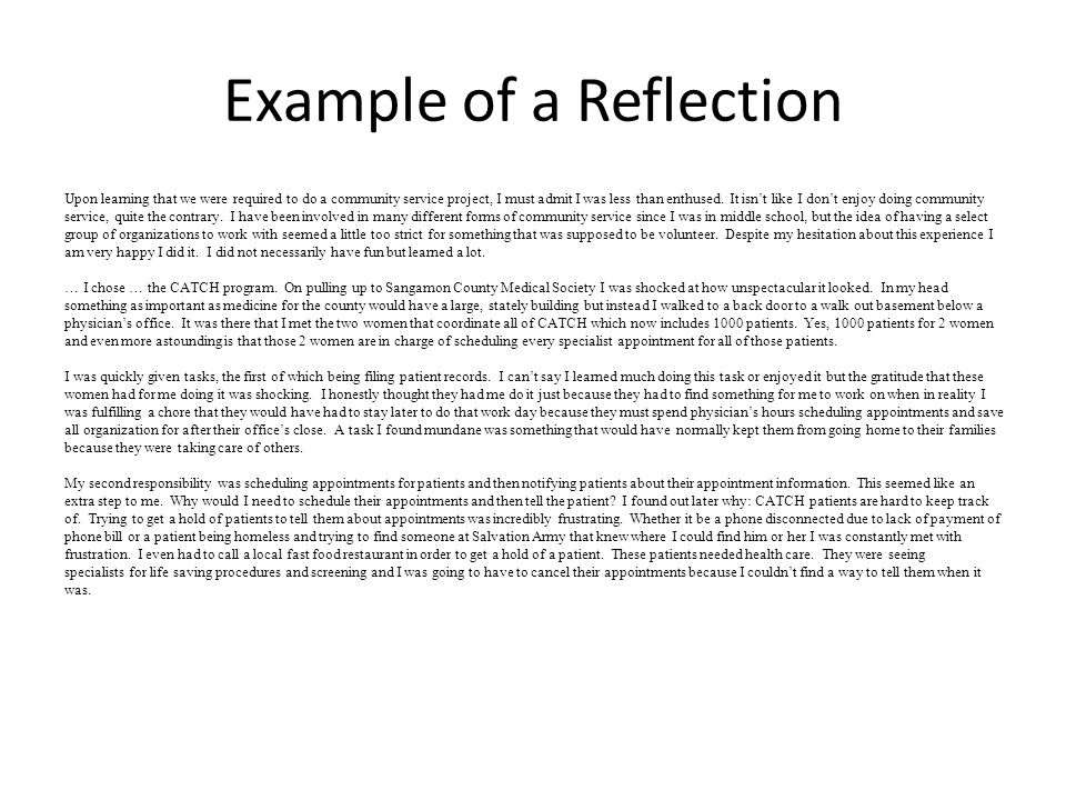 Reflective essay service learning