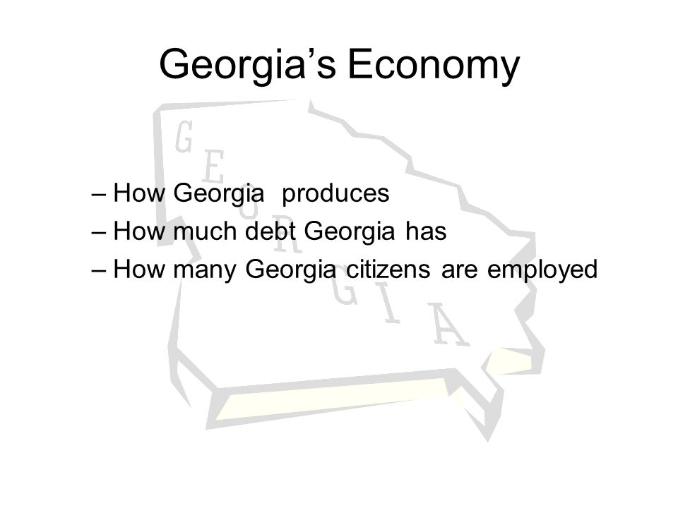 Georgia's Economy How Georgia produces How much debt Georgia has