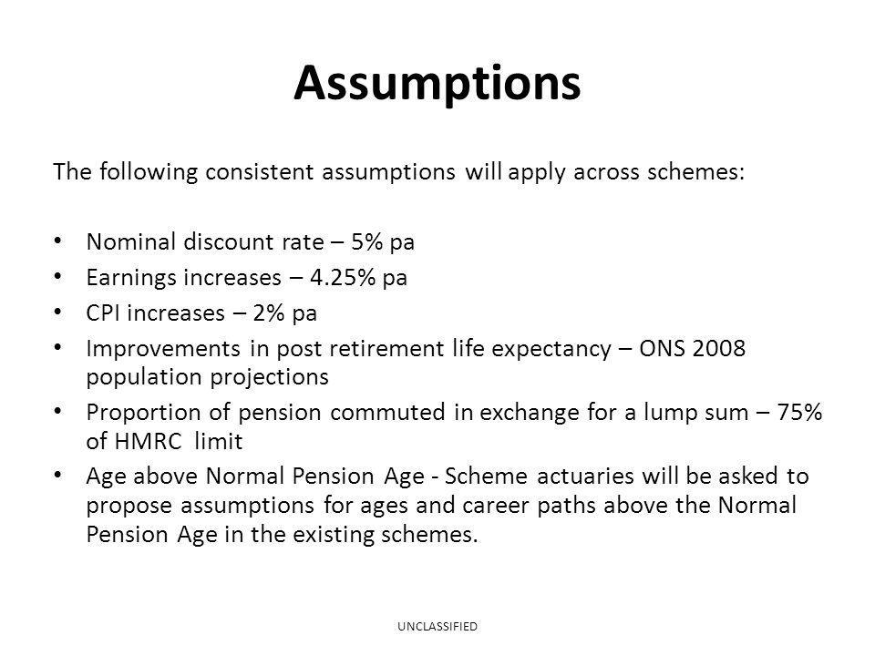 Assumptions The following consistent assumptions will apply across schemes: Nominal discount rate – 5% pa.