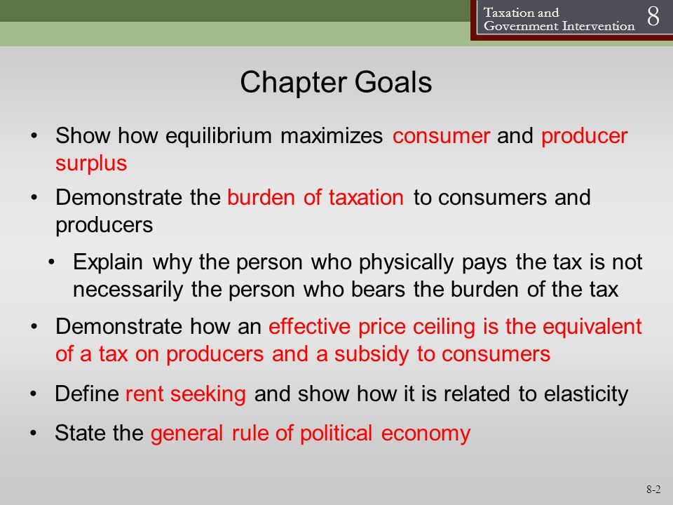 Chapter Goals Show how equilibrium maximizes consumer and producer surplus. Demonstrate the burden of taxation to consumers and producers.