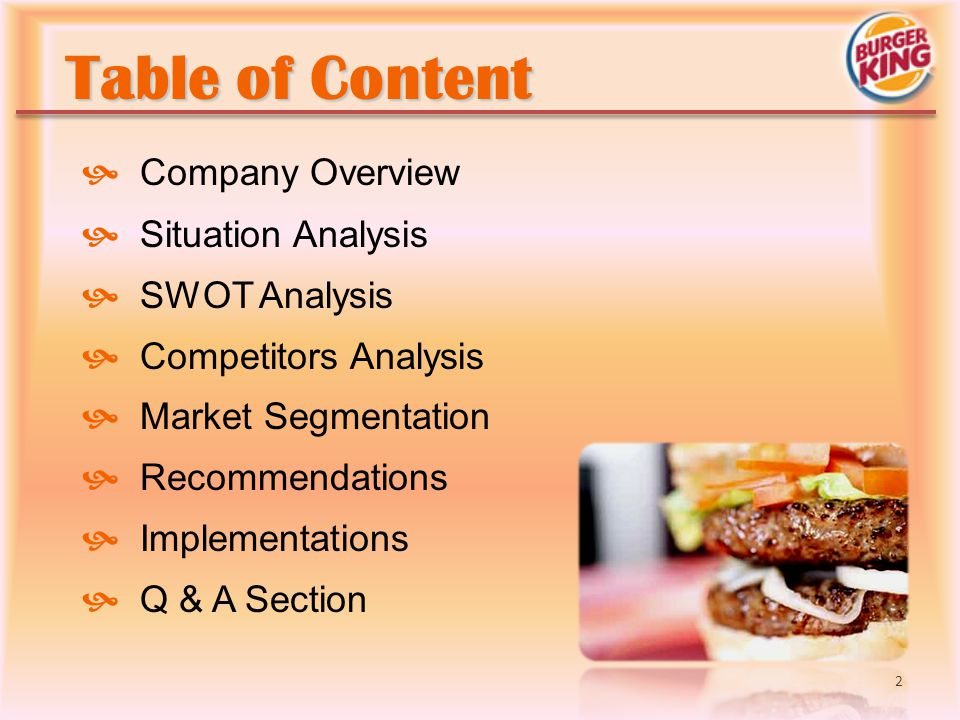 Table of Content Company Overview Situation Analysis SWOT Analysis