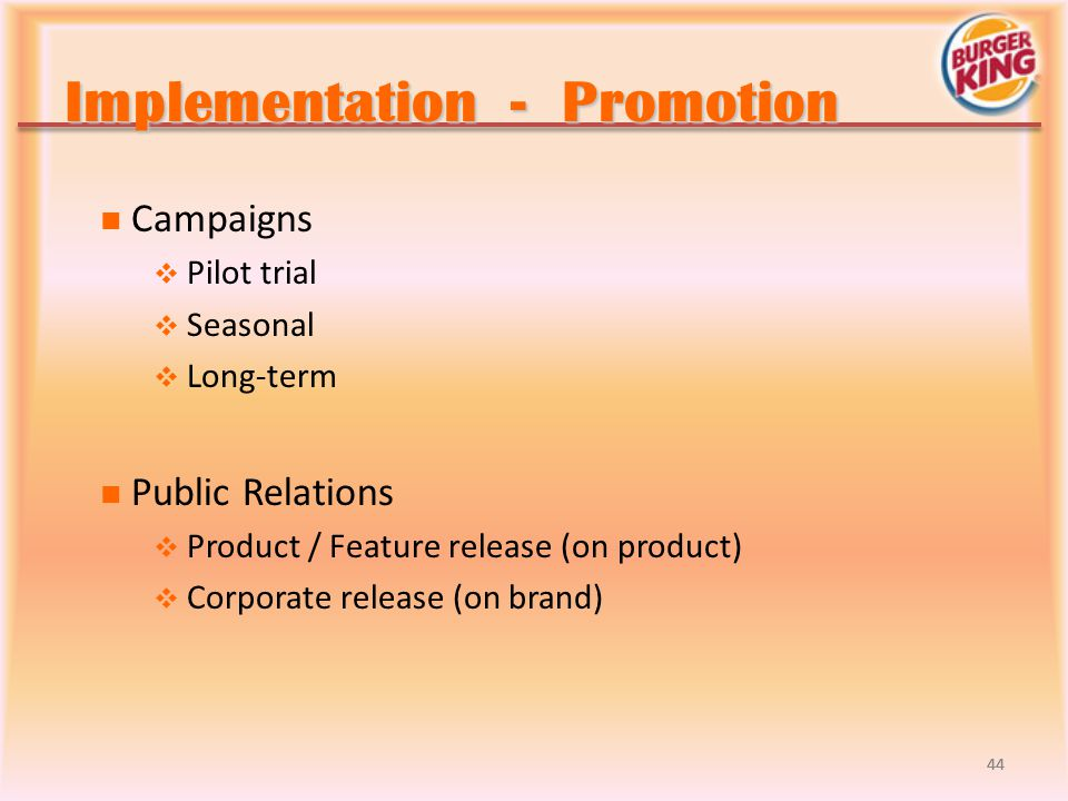 Implementation - Promotion
