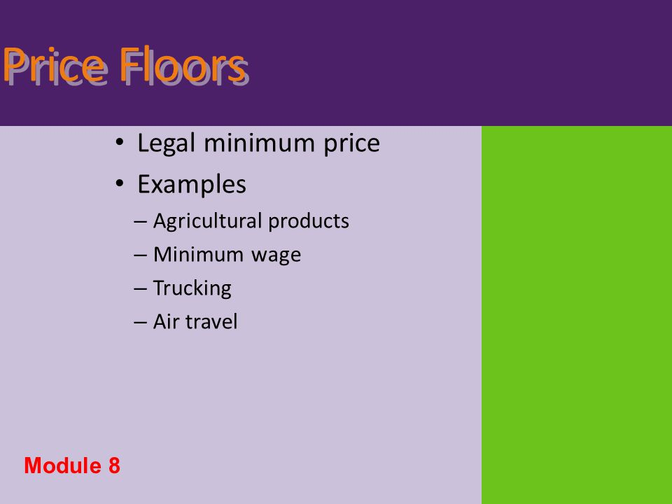 Price Floors Legal minimum price Examples Agricultural products