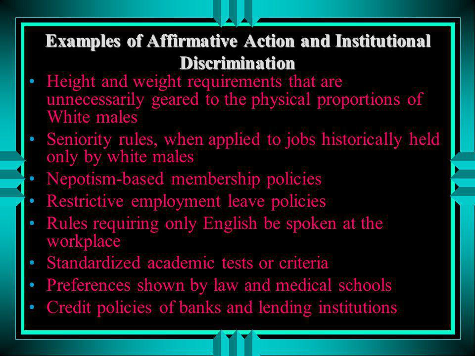 """affirmative action helps cut down discrimination in the work place Lecture 17: arguing affirmative action  but only cut off the tallest ears of corn till he had brought the field to a level the herald did not know the meaning of the action, but came and reported what  the law school's admissions policy promotes """"cross-racial understanding,"""" helps to break down racial stereotypes, and """"enables."""