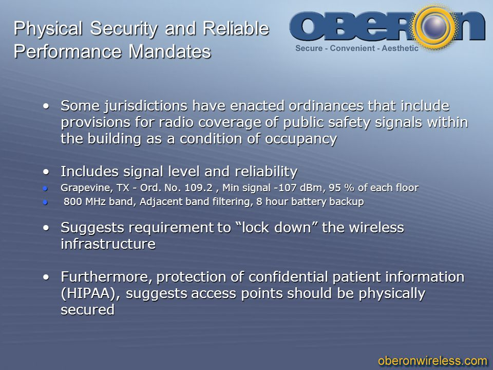Physical Security and Reliable Performance Mandates