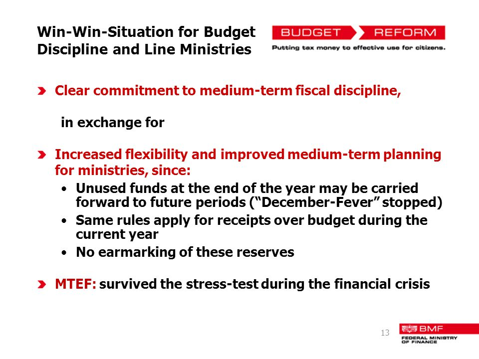 Win-Win-Situation for Budget Discipline and Line Ministries