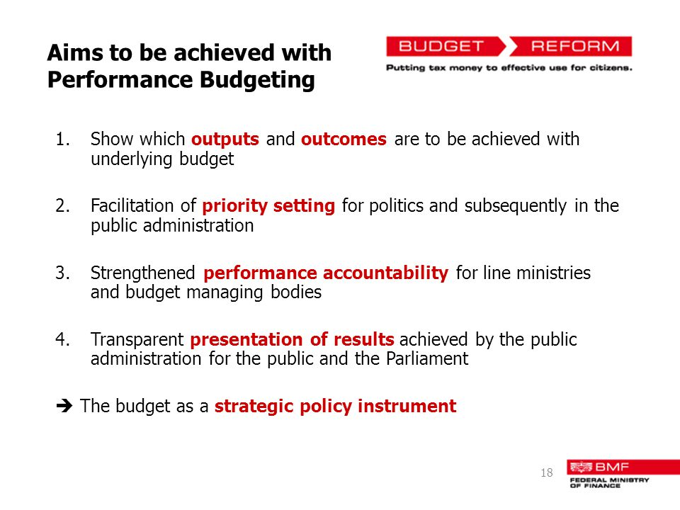 Aims to be achieved with Performance Budgeting