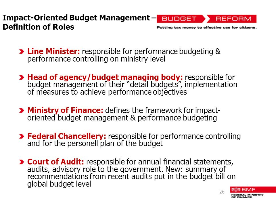 Impact-Oriented Budget Management – Definition of Roles