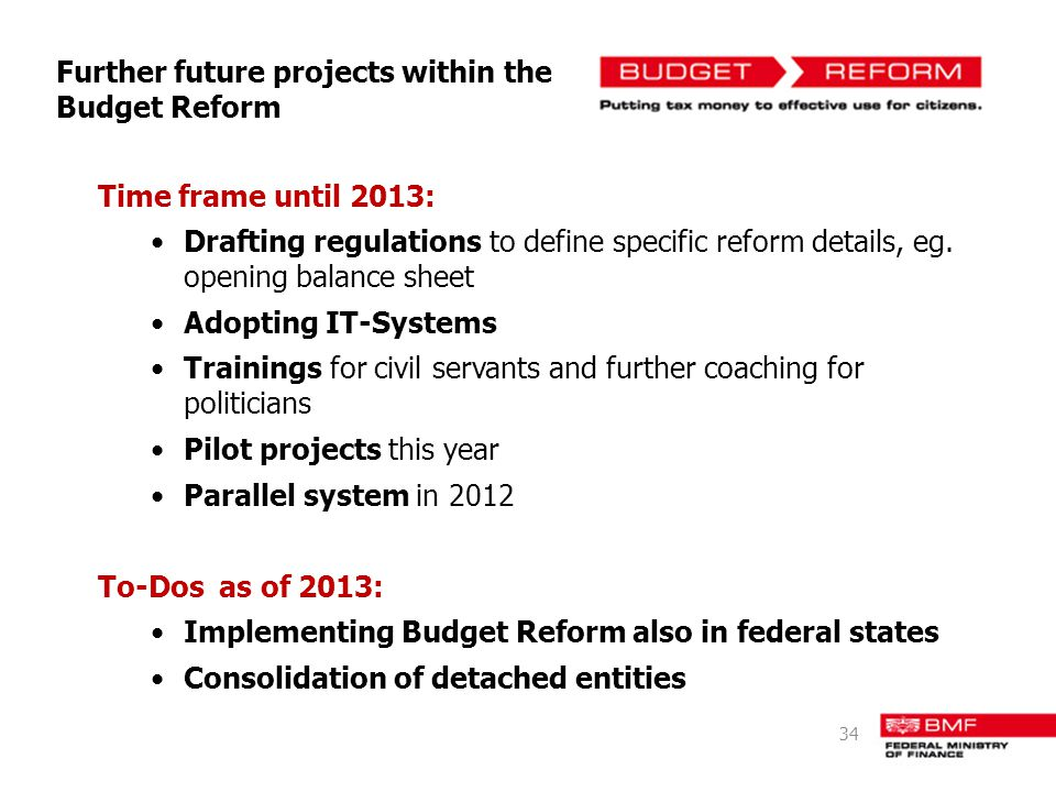 Further future projects within the Budget Reform