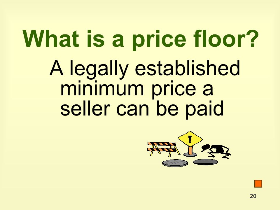 What is a price floor A legally established minimum price a seller can be paid