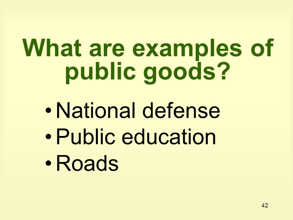 What are examples of public goods