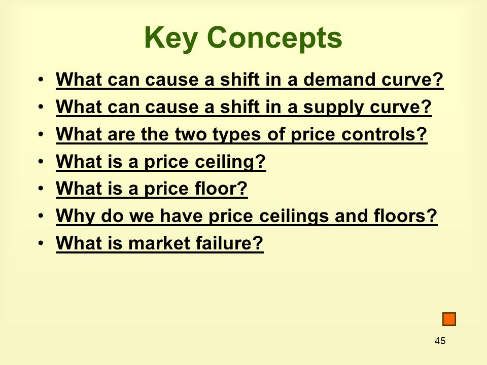 Key Concepts What can cause a shift in a demand curve