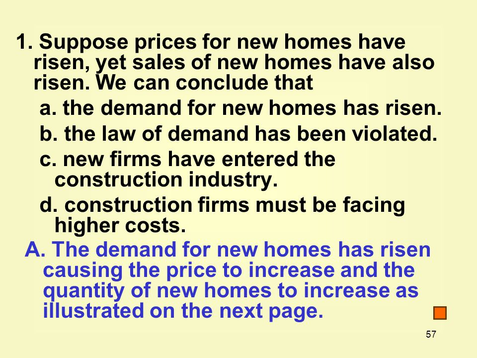 1. Suppose prices for new homes have risen, yet sales of new homes have also risen. We can conclude that