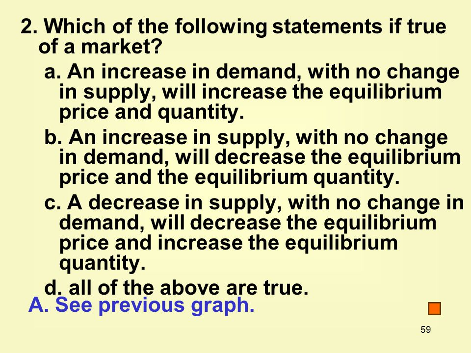 2. Which of the following statements if true of a market