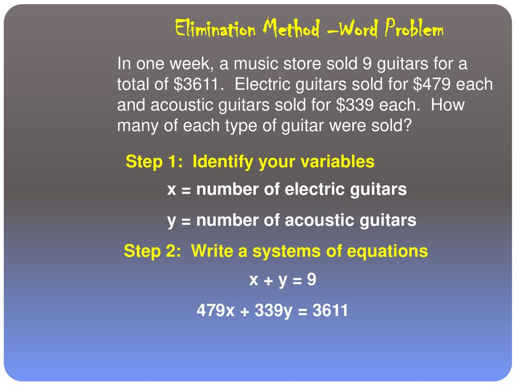 SOLVING SYSTEMS USING ELIMINATION - ppt download