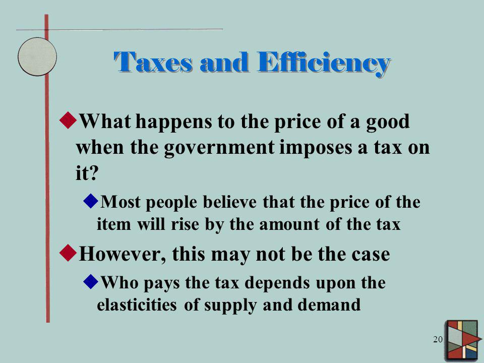 Taxes and Efficiency What happens to the price of a good when the government imposes a tax on it