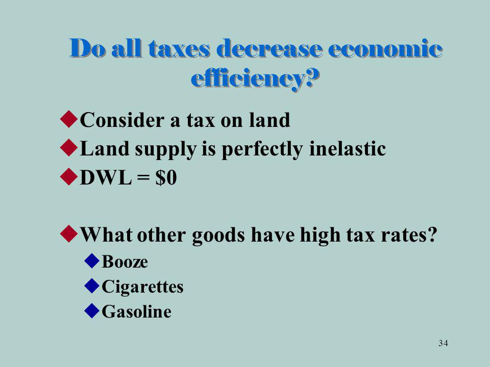 Do all taxes decrease economic efficiency