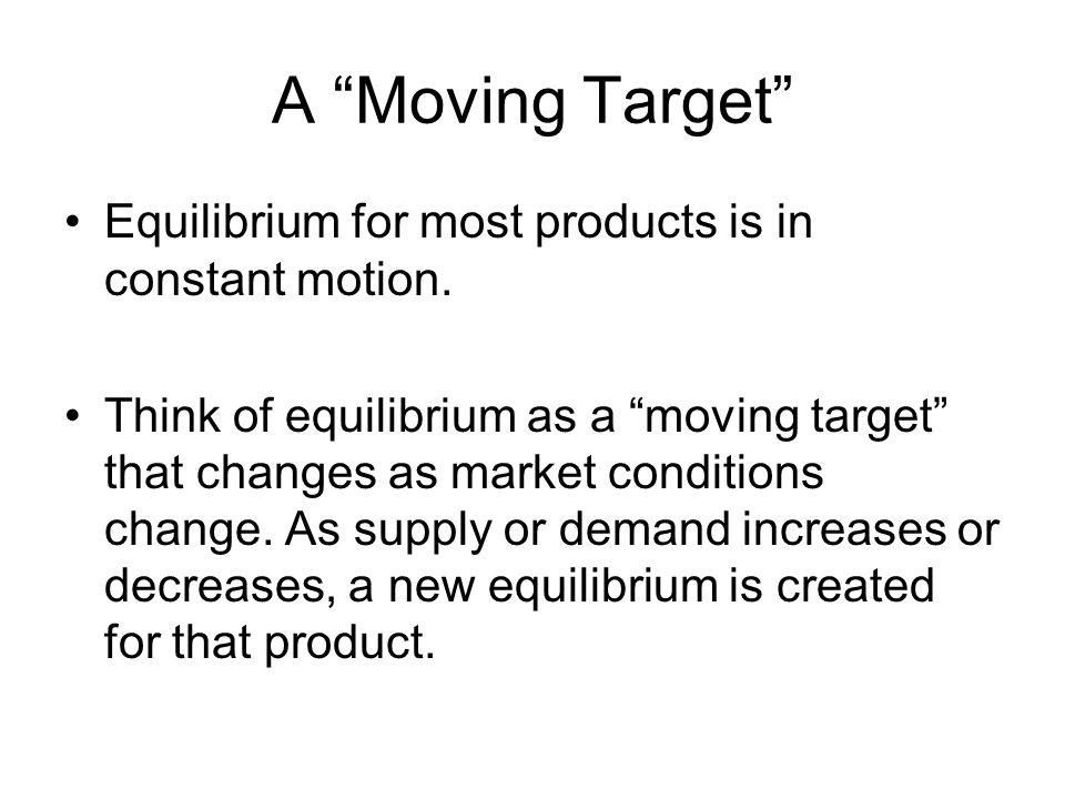 A Moving Target Equilibrium for most products is in constant motion.
