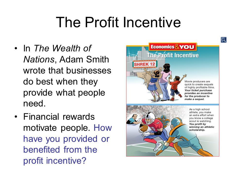 The Profit Incentive In The Wealth of Nations, Adam Smith wrote that businesses do best when they provide what people need.