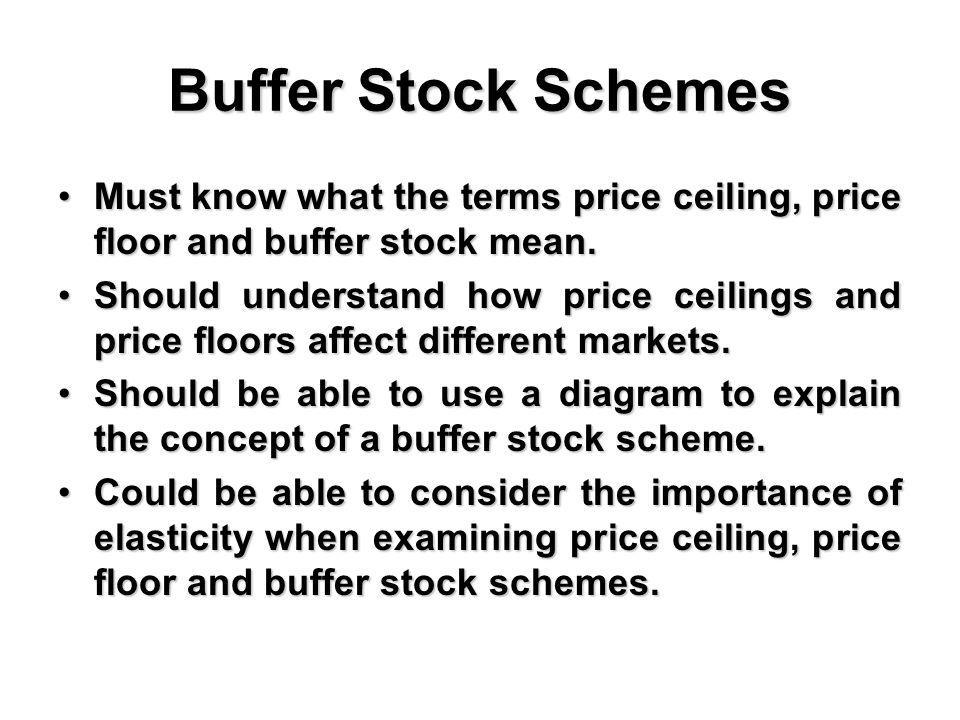 Buffer Stock Schemes Must know what the terms price ceiling, price floor and buffer stock mean.