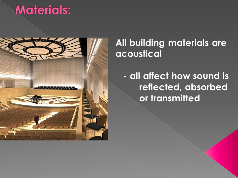 Materials: All building materials are acoustical