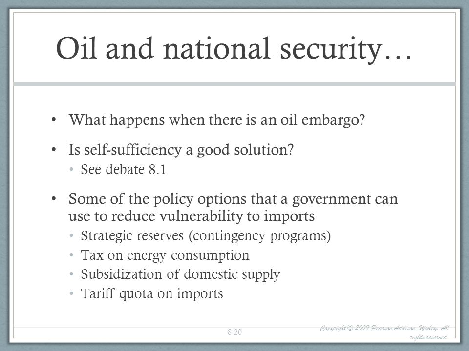 Oil and national security…