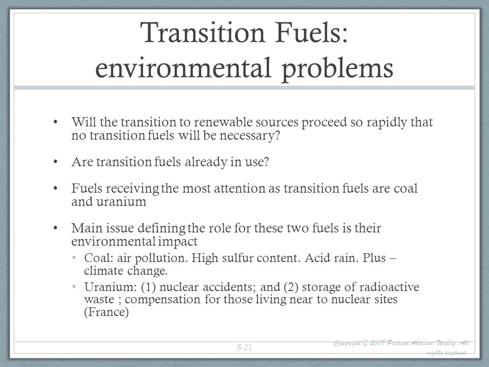 Transition Fuels: environmental problems