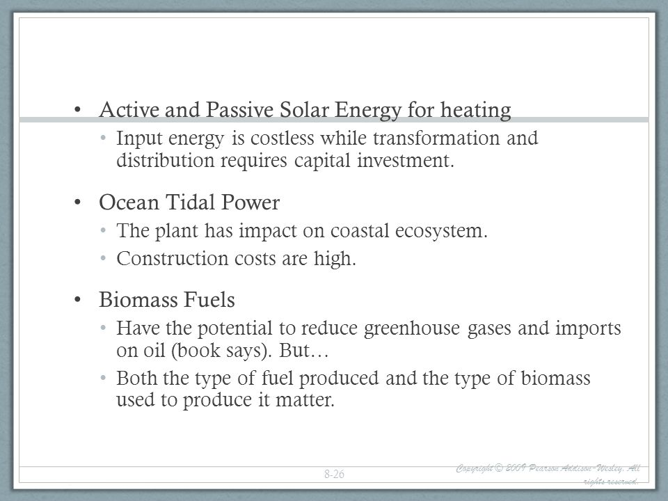 Active and Passive Solar Energy for heating