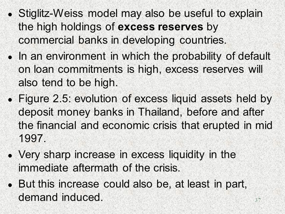 Stiglitz-Weiss model may also be useful to explain the high holdings of excess reserves by commercial banks in developing countries.