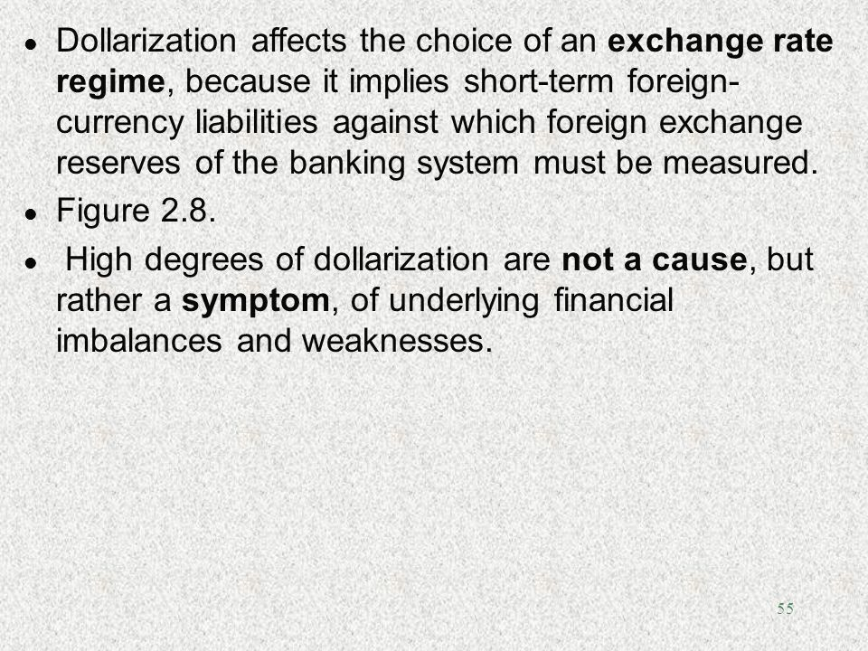 Dollarization affects the choice of an exchange rate regime, because it implies short-term foreign-currency liabilities against which foreign exchange reserves of the banking system must be measured.