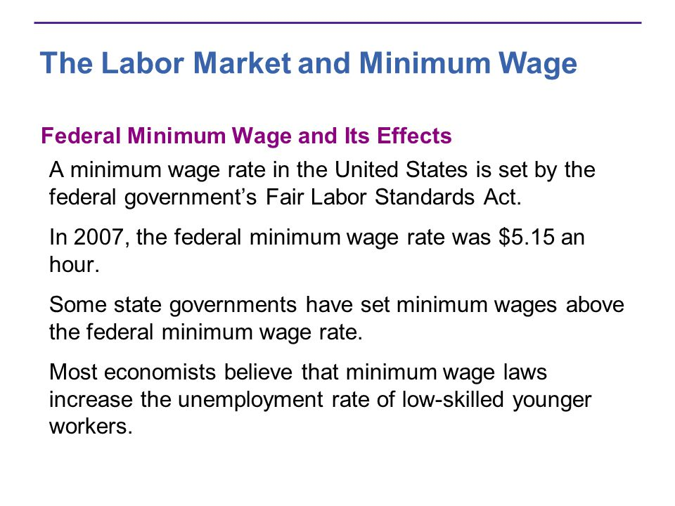 The Labor Market and Minimum Wage