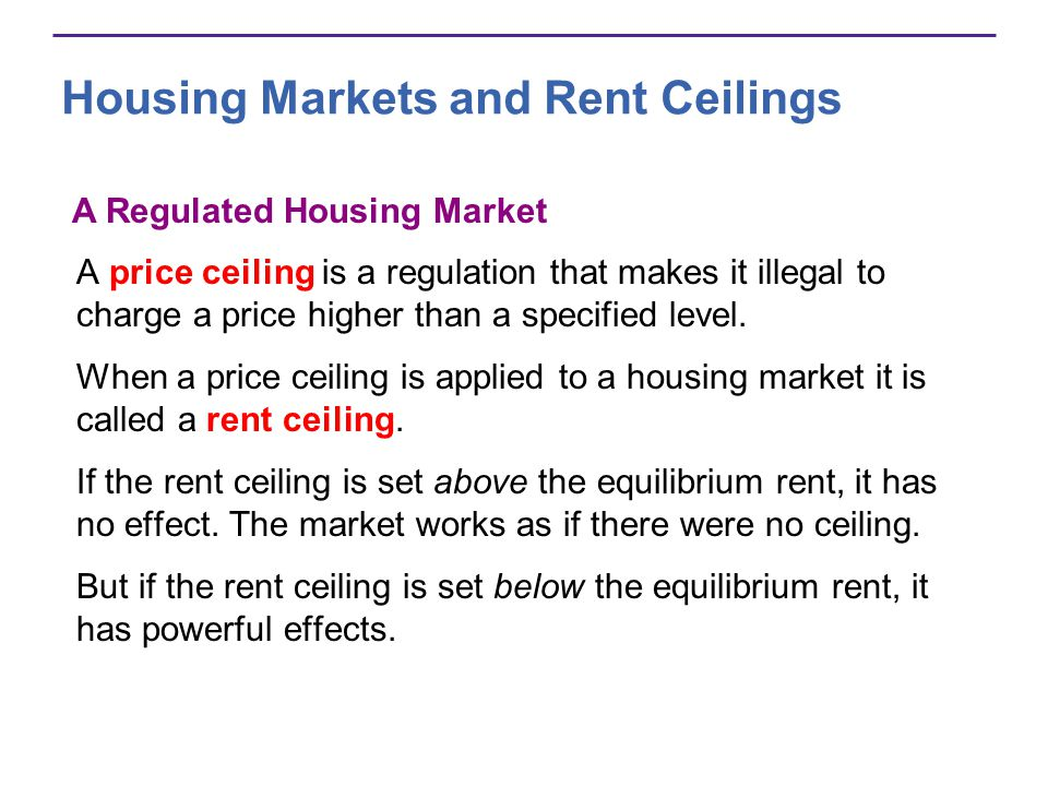 Housing Markets and Rent Ceilings