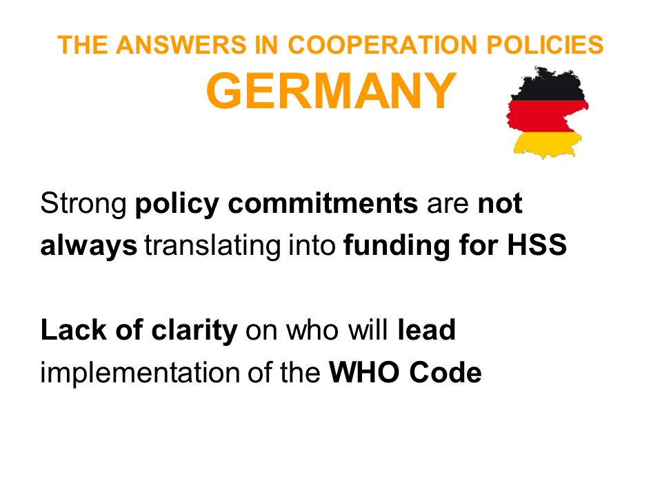 THE ANSWERS IN COOPERATION POLICIES GERMANY