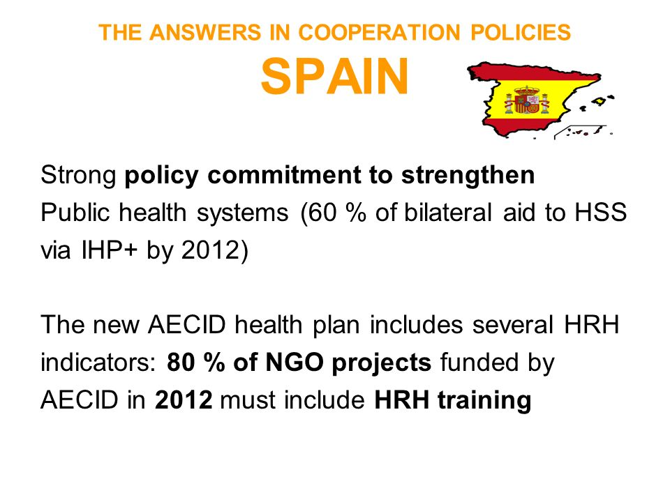 THE ANSWERS IN COOPERATION POLICIES SPAIN